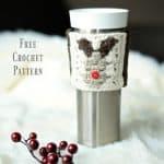 Free Crochet Pattern – Reindeer Coffee Cozy / Sleeve