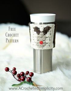 Free Crochet Pattern – Reindeer Coffee Cozy / Sleeve
