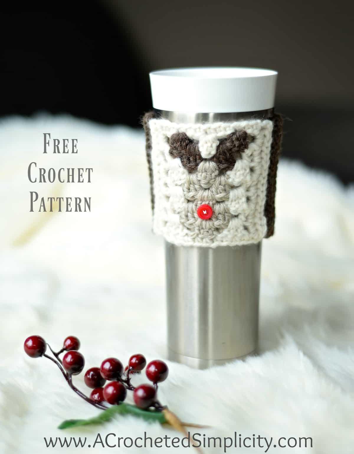 Free Crochet Pattern - Reindeer Coffee Cozy / Sleeve - A Crocheted ...