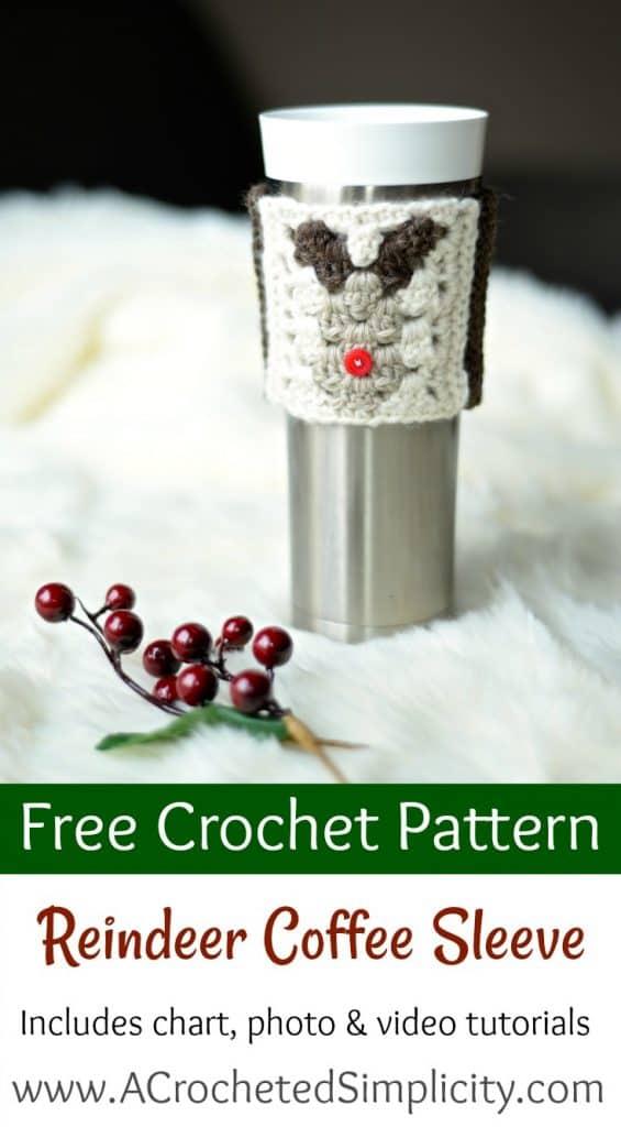 Free Crochet Pattern - Reindeer Coffee Sleeve / Cozy by A Crocheted Simplicity