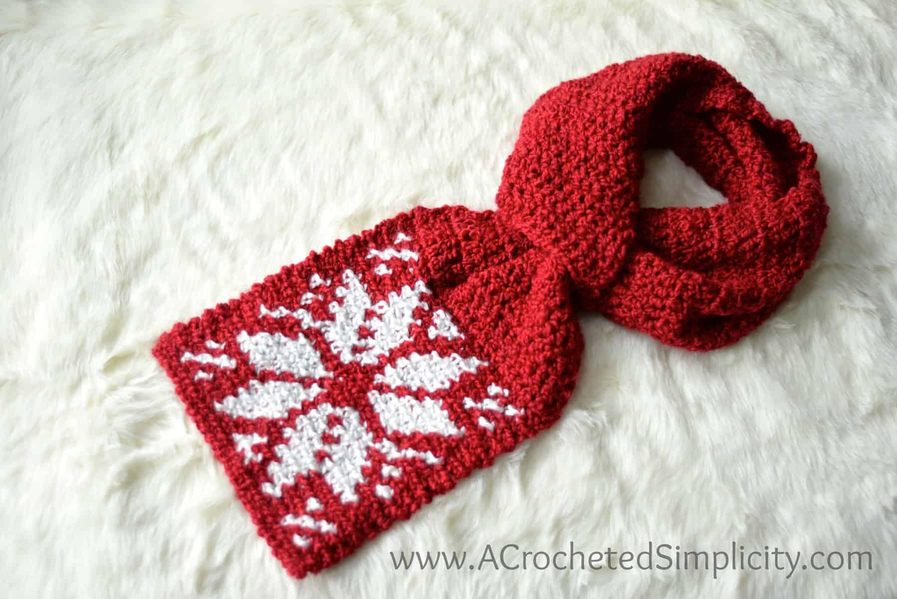 Free Crochet Pattern Snowflake Keyhole Scarf A