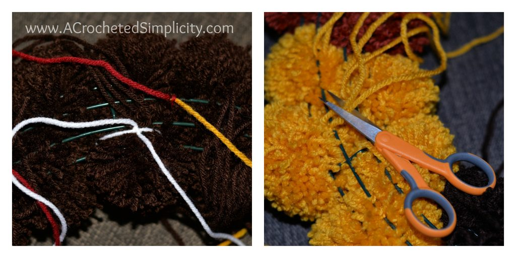 Free Crochet Pattern & DIY Project - How to Make A Turkey Pom Wreath by A Crocheted Simplicity