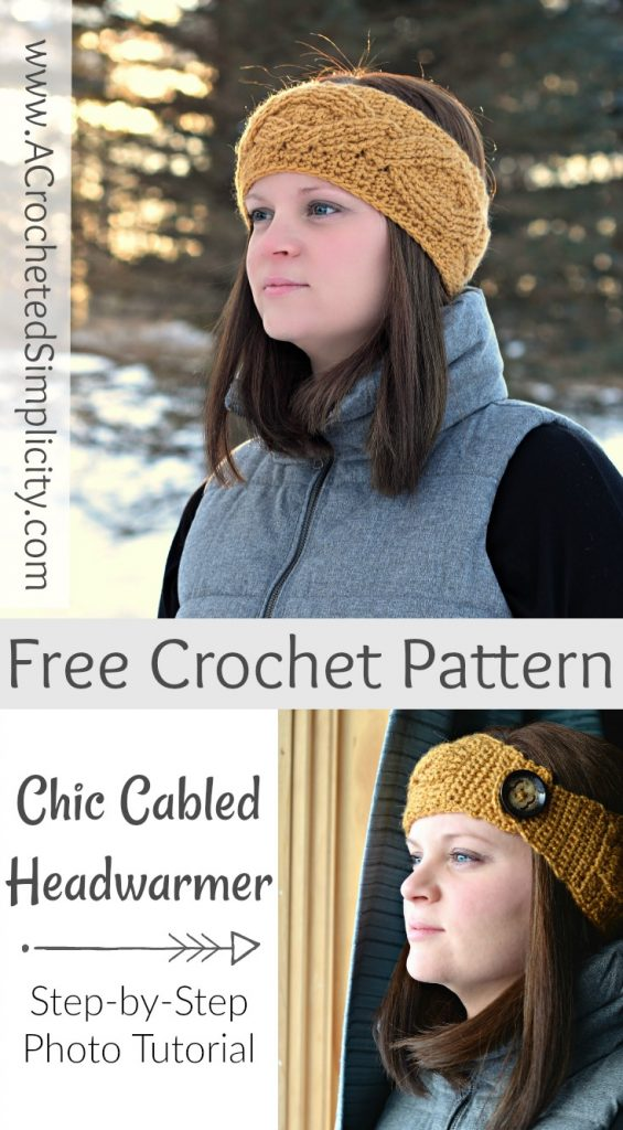 Free Crochet Pattern - Chic Cabled Headwarmer by A Crocheted Simplicity