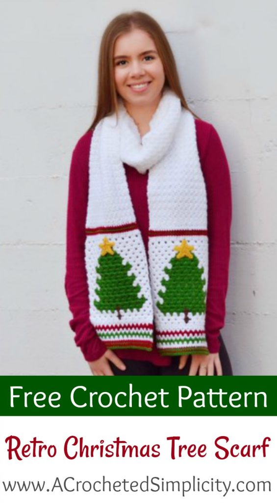 Free Crochet Pattern - Retro Christmas Tree Scarf by A Crocheted Simplicity