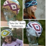 "Crochet Pattern - ""Boho Chic"" Mosaic Headwarmers 2-in-1 by A Crocheted Simplicity"