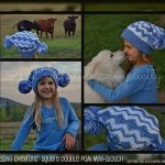 """Crochet Pattern - """"Chasing Chevrons"""" Square Double Pom mini-slouch by A Crocheted Simplicity"""