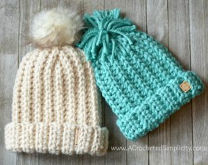 Free Crochet Pattern - Knit-Look Super Bulky Slouch (Adult & Kid Sizes) by A Crocheted Simplicity