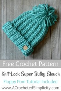 Free Crochet Pattern - Knit-Look Super Bulky Slouch (Kids' Sizes) by A Crocheted Simplicity