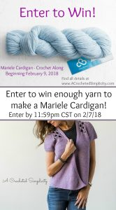 Enter to win enough yarn to make the Mariele Cardigan by A Crocheted Simplicity!