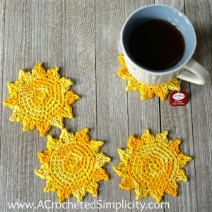 Free Crochet Pattern - The Sun's Out! Drink Coasters by A Crocheted Simplicity
