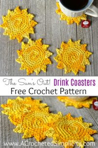 Free Crochet Pattern - The Sun's Out! Crochet Drink Coasters by A Crocheted Simplicity