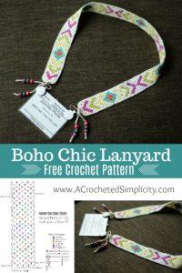 Free Crochet Pattern - Boho Chic Lanyard by A Crocheted Simplicity #crochet #crochetlanyard #bohocrochet #freecrochetpattern