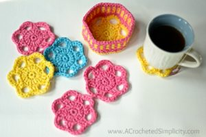 Free Crochet Pattern - Flower Drink Coasters & Caddy by A Crocheted Simplicity #crochet #freecrochetpattern #crochetcoaster