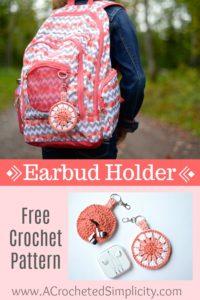 Free Crochet Pattern - Earbud Holder, Chapstick Holder, Charger Holder, Change Purse, Fidget Spinner Holder by A Crocheted Simplicity #freecrochetpattern #crochet