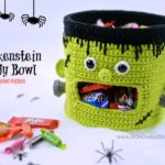Free Crochet Pattern - Frankenstein Candy Bowl by A Crocheted Simplicity #crochet #freecrochetpattern #frankenstein #halloweencandydish