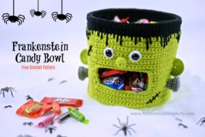 Free Crochet Pattern - Frankenstein Candy Bowl by A Crocheted Simplicity #crochet #freecrochetpattern #frankenstein #halloween candydish