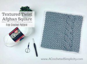 Textured Twist 12″ Afghan Square – Free Crochet Pattern