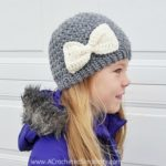 Free Crochet Pattern - Anabelle Beanie by A Crocheted Simplicity #crochet #crochethat #crochetbow #crochetbeanie #freecrochetpattern