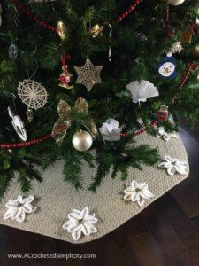 Free Crochet Pattern - Poinsettia Tree Skirt by A Crocheted Simplicity #crochet #crochettreeskirt #christmastreeskirt #crochetpoinsettia