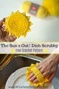 Free Crochet Pattern - The Sun's Out! Dish Scrubby by A Crocheted Simplicity #crochet #crochetscrubby #freecrochetpattern