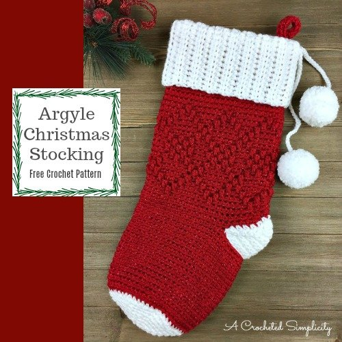 Argyle Christmas Stocking Free Crochet Pattern A Crocheted