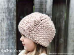 Textured Twist Cabled Beanie & Slouch  – Baby & Doll Sizes –  Free Crochet Pattern