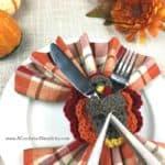 Free Crochet Pattern - Turkey Napkin Ring, Napkin Holder - by A Crocheted Simplicity #crochet #crochetturkey #crochetnapkinring #freecrochetpattern