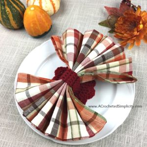 Free Crochet Pattern - Turkey Napkin Ring, Napkin Holder - by A Crocheted Simplicity #crochet #crochetturkey #crochetnapkinring #freecrochetpattern
