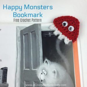 Free Crochet Pattern - Happy Monsters Crochet Bookmark by A Crocheted Simplicity #crochet #freecrochetpattern #crochetbookmark