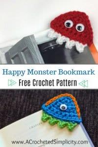 Free Crochet Pattern - Happy Monsters Crochet Bookmark by A Crocheted Simplicity #crochet #freecrochetpattern #crochetbookmark
