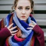 Free Crochet Pattern - Griffin Shawl / Triangular Scarf by A Crocheted Simplicity #crochet #freecrochetshawlpattern #freecrochetpattern #freecrochetscarf #triangularscarfpattern #lionbrandmandala #crochetshawl #crochetscarf #crochetshawlpattern #crochettriangularshawl