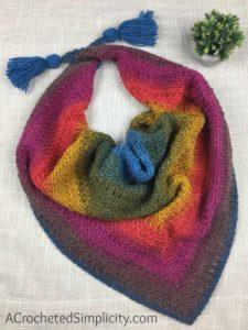 Free Crochet Pattern - Chimera Scarf by A Crocheted Simplicity #freecrochetpattern #crochetscarf #crochet #womensscarf #lionbrandmandala #crochetscarfpattern