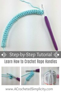 How to Crochet Rope Handles a Tutorial by A Crocheted Simplicity #crochetstrap #crochethandletutorial #howtocrochet #crochetropehandle #crochet #freecrochettutorial #crochetrope