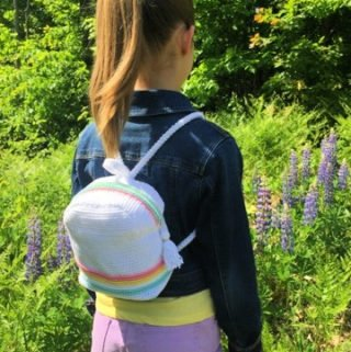 Free Crochet Pattern - Striped Mini-Backpack by A Crocheted Simplicity #freecrochetpattern #crochet #minibackpack #crochetbackpack #handmadebackpack #kidsbackpack #crochetbackpackpattern