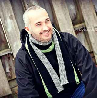 Free Crochet Pattern - Men's Knit-Look Ribbed Scarf by A Crocheted Simplicity #freecrochetpattern #crochetscarfpattern #crochetformen #crochetscarf #knitlookcrochet #videotutorial