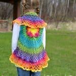 Crochet Circle Vest Pattern - Girls Butterfly Mandala Circle Vest by A Crocheted Simplicity #crochetvest #crochetcirclevest #circlevest #crochetbutterfly ##texturedcrochet #circlevestpattern #crochetpattern #crochetforgirls