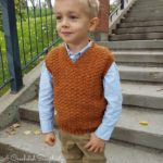 Crochet Boys Vest Pattern - Summit Boys Sweater Vest by A Crocheted Simplicity #crochetvest #crochetvestpattern #vneck #texturedcrochet #boyscrochet #crochetforboys #boyssweatervest #handmadevest