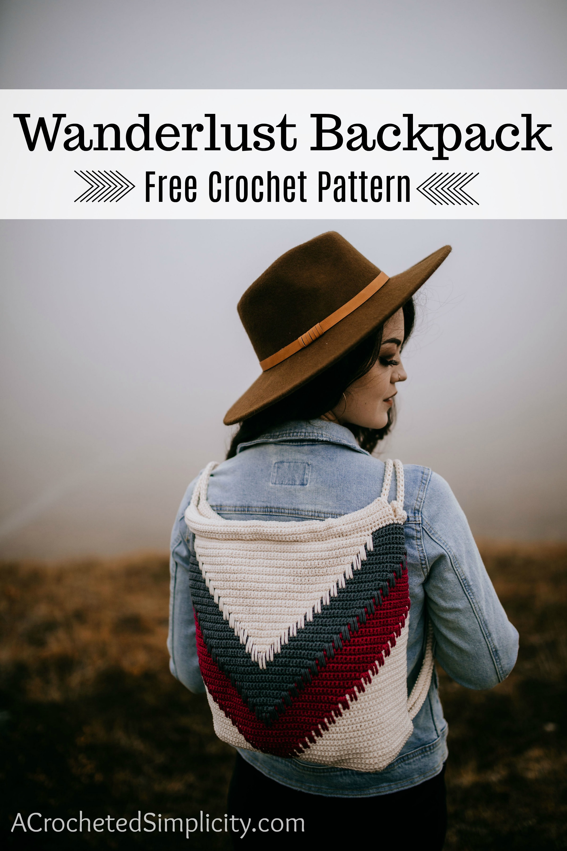 Wanderlust Crochet Backpack - Free Crochet Backpack Pattern by A Crocheted Simplicity #crochetbag #crochetbackpack #crochetchevron #chevronbackpack #handmadebackpack #freecrochetpattern #crochetbackpackpattern #chevron #spikestitch #crochetspikestitch