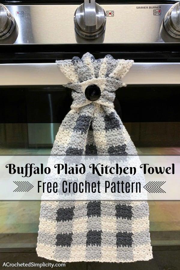 Free Crochet Pattern - Buffalo Plaid Dish Towel by A Crocheted Simplicity #buffaloplaidtowel #buffaloplaidcrochet #freecrochetpattern #crochetdishtowel #crochetteatowel #farmhousechecktowel #crochetkitchentowel