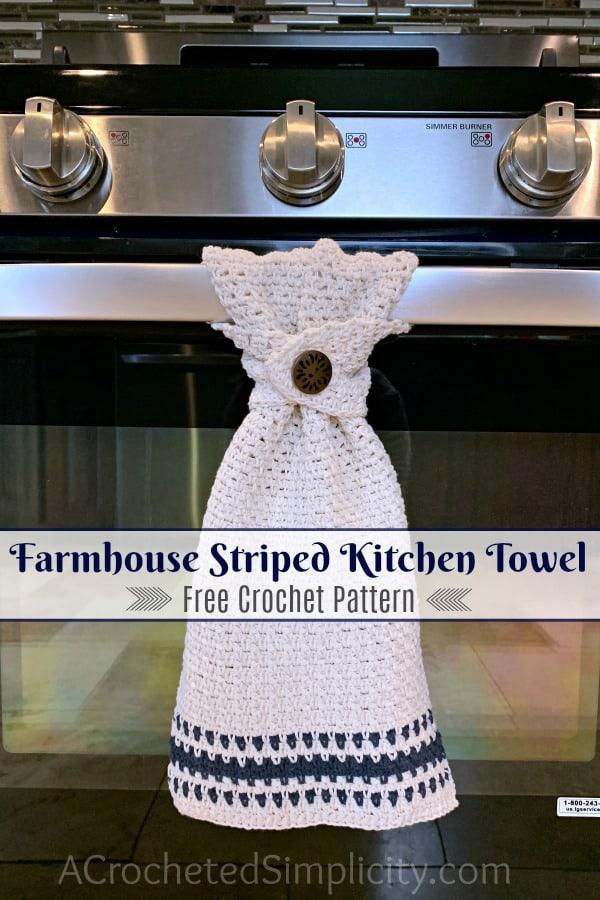 Free Crochet Pattern - Buffalo Plaid Dish Towel by A Crocheted Simplicity #buffaloplaidtowel #farmhousecrochet #freecrochetpattern #crochetdishtowel #crochetteatowel #farmhousestripedtowel #crochetkitchentowel