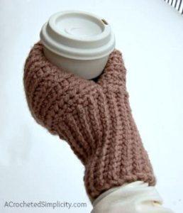 Free Crochet Pattern - Knot Knit Drink Mitt by A Crocheted Simplicity #freecrochetpattern #coffeemitt #drinkmitt #crochetdrinkmitt #crochet #crochetcoffeemitt