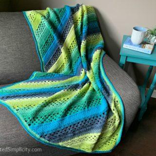 Free Crochet Blanket Pattern - On the Bias Rectangular Afghan by A Crocheted Simplicity #crochetblanket #crochetafghan #freecrochetpattern #freecrochetblanketpattern #handmadeblanket #homemade #lionbrandwooleasecakes