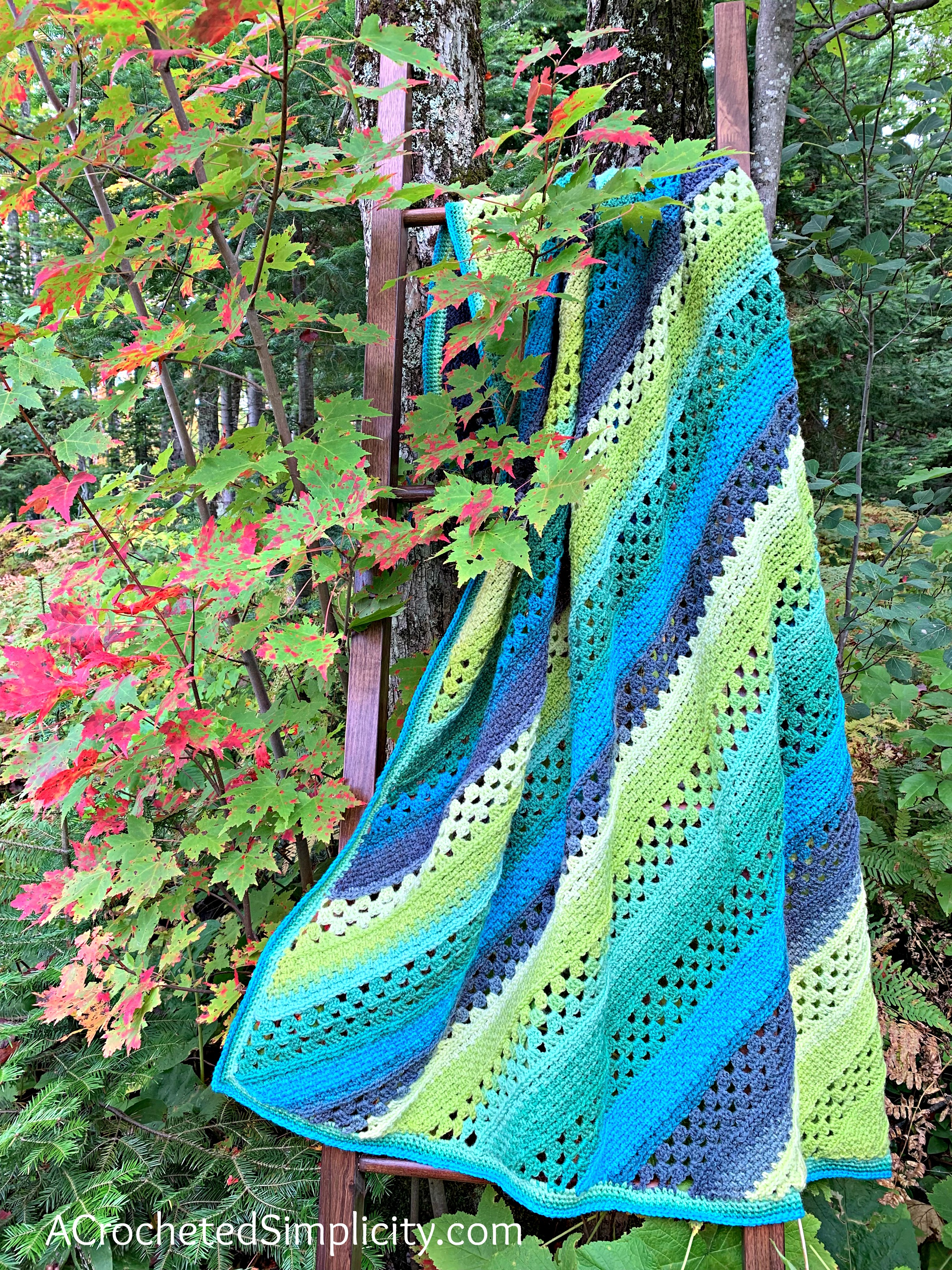 Free Crochet Blanket Pattern - On the Bias Rectangular Afghan by A Crocheted Simplicity #crochetblanket #crochetafghan #freecrochetpattern #freecrochetblanketpattern #handmadeblanket #homemade #lionbrandwooleasecakes