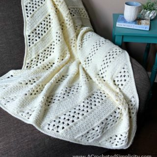 Free Crochet Blanket Pattern - On the Bias Square Afghan by A Crocheted Simplicity #crochetblanket #crochetafghan #freecrochetpattern #freecrochetblanketpattern #handmadeblanket #homemade #lionbrandwooleasecake