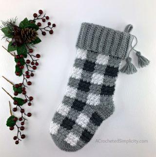 Free Crochet Stocking Pattern - Buffalo Plaid Christmas Stocking by A Crocheted Simplicity #crochetplaid #crochetstocking #plaidstocking #farmhouseplaid #farmhousecrochet #crochetchristmas #crochetchristmasstocking #freecrochetpattern #crochet #handmadestocking #handmadechristmas