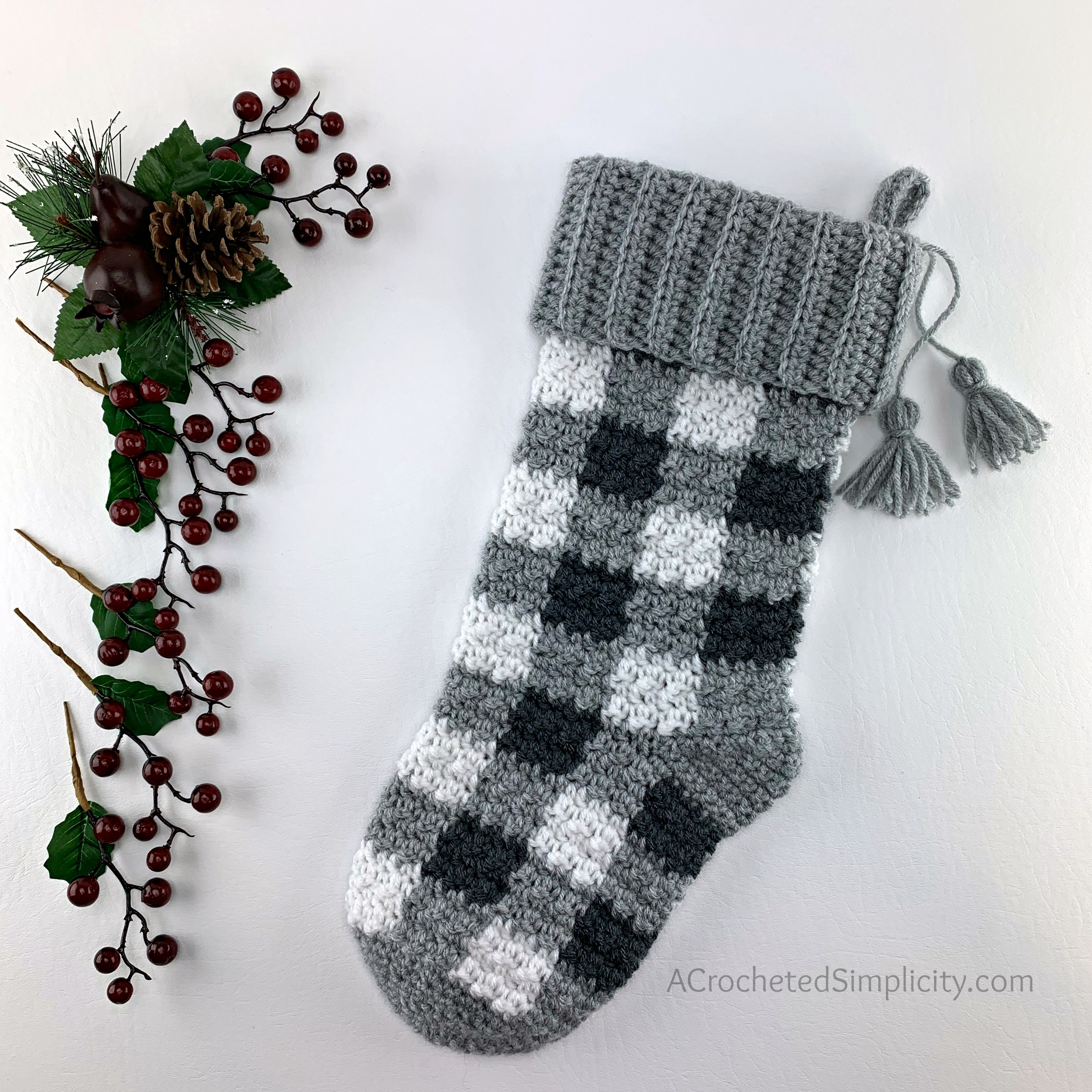 Free Crochet Stocking Pattern - Buffalo Plaid Christmas Stocking by A Crocheted Simplicity #crochetplaid #crochetstocking #plaidstocking #farmhouseplaid #farmhousecrochet #crochetchristmas #crochetchristmasstocking #freecrochetpattern #crochet #handmadestocking #handmadechristmas