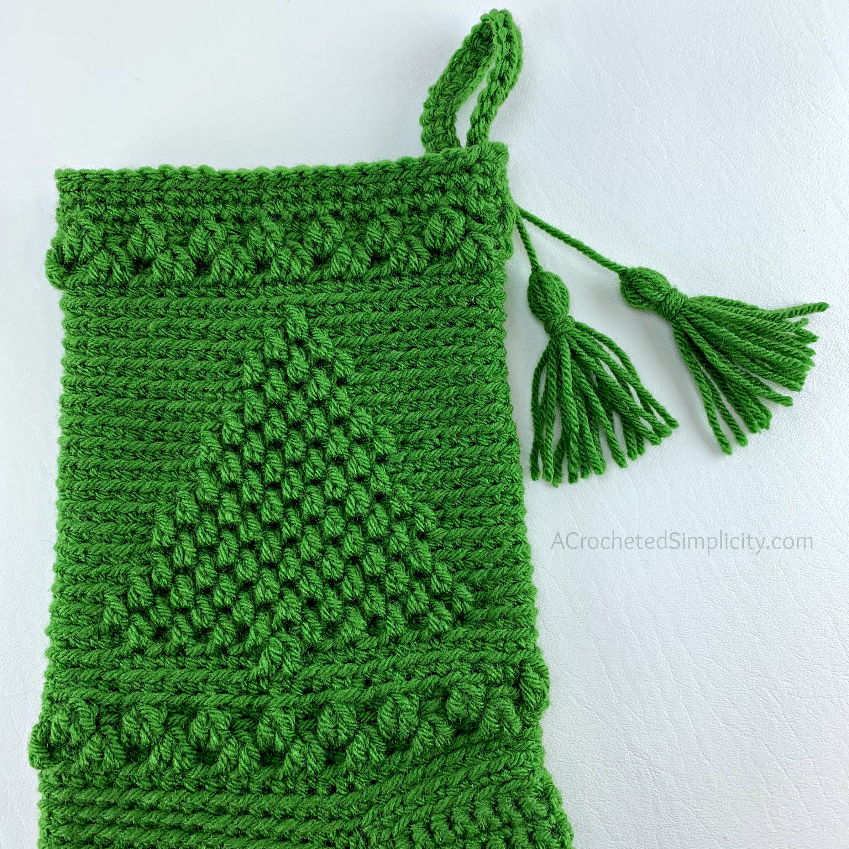 Free Crochet Pattern - O' Christmas Tree Christmas Stocking by A Crocheted Simplicity #freecrochetstockingpattern #freecrochetpattern #crochetchristmas #christmasstockingpattern #crochet #handmadestocking