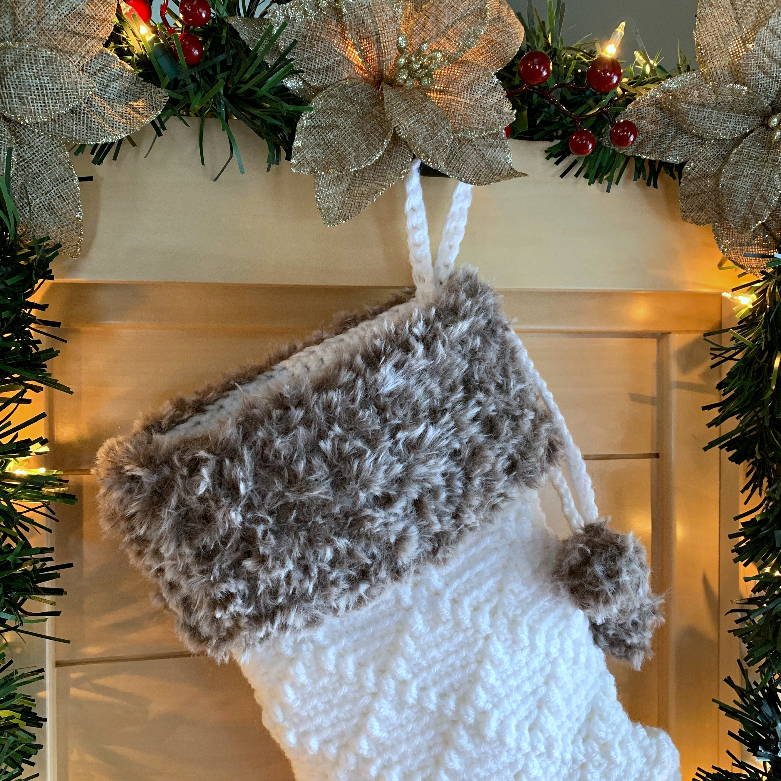 Free Crochet Pattern - Diamonds & Fur Christmas Stocking by A Crocheted Simplicity#freecrochetstockingpattern #freecrochetpattern #crochetchristmas #christmasstockingpattern #crochet #handmadestocking