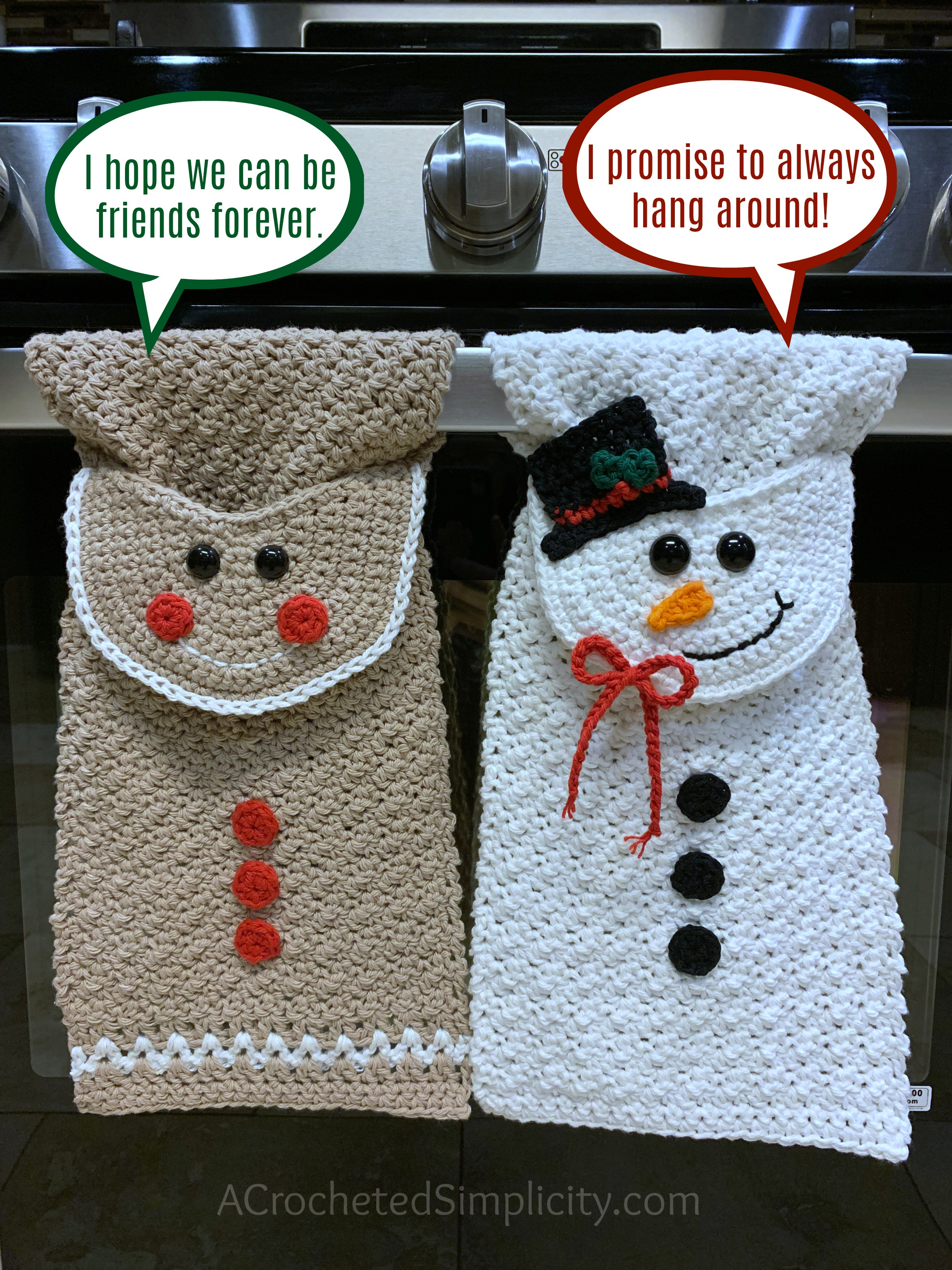 Free Crochet Patterns - Gingerbread Man & Snowman Kitchen Towels by A Crocheted Simplicity #crochetchristmastowel #gingerbreadmantowel #snowmantowel #freecrochetpattern #crochet #crochettowelpattern