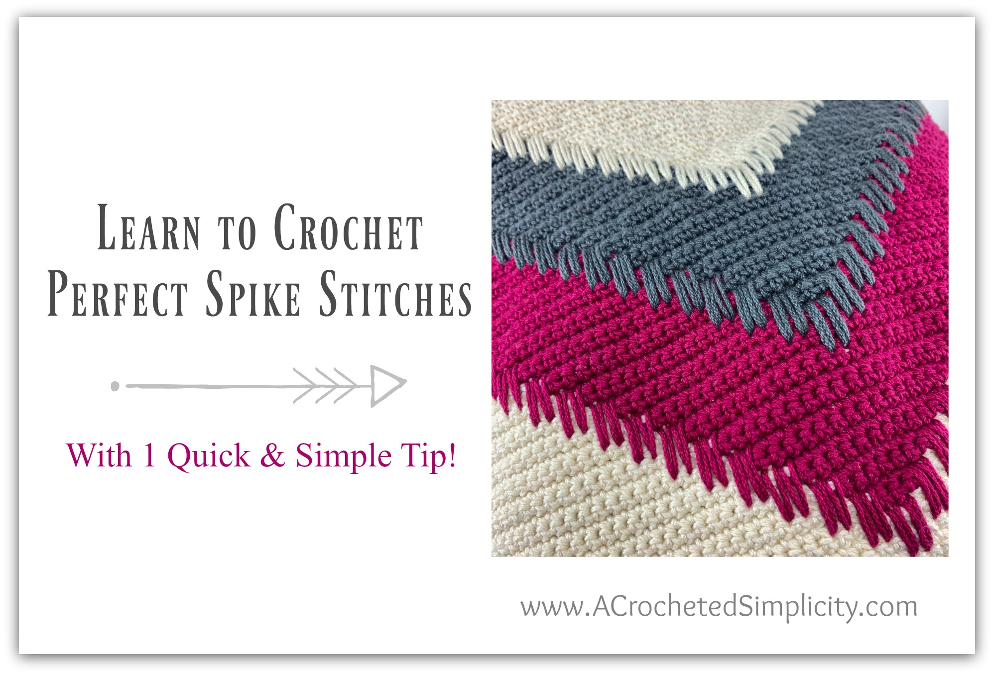 1 Quick & Simple Tip for crocheting PERFECT Spike Stitches - Video Tutorial by A Crocheted Simplicity#crochetvideotutorial #crochetstitchtutorial #crochetspikestitch #crochettip #freecrochetpattern #crochetvideo